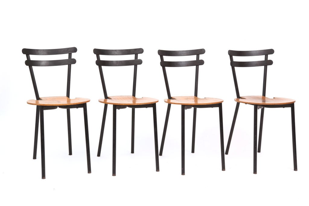 Set Of Four Sixties Stackable Black Metal And Oak Dining