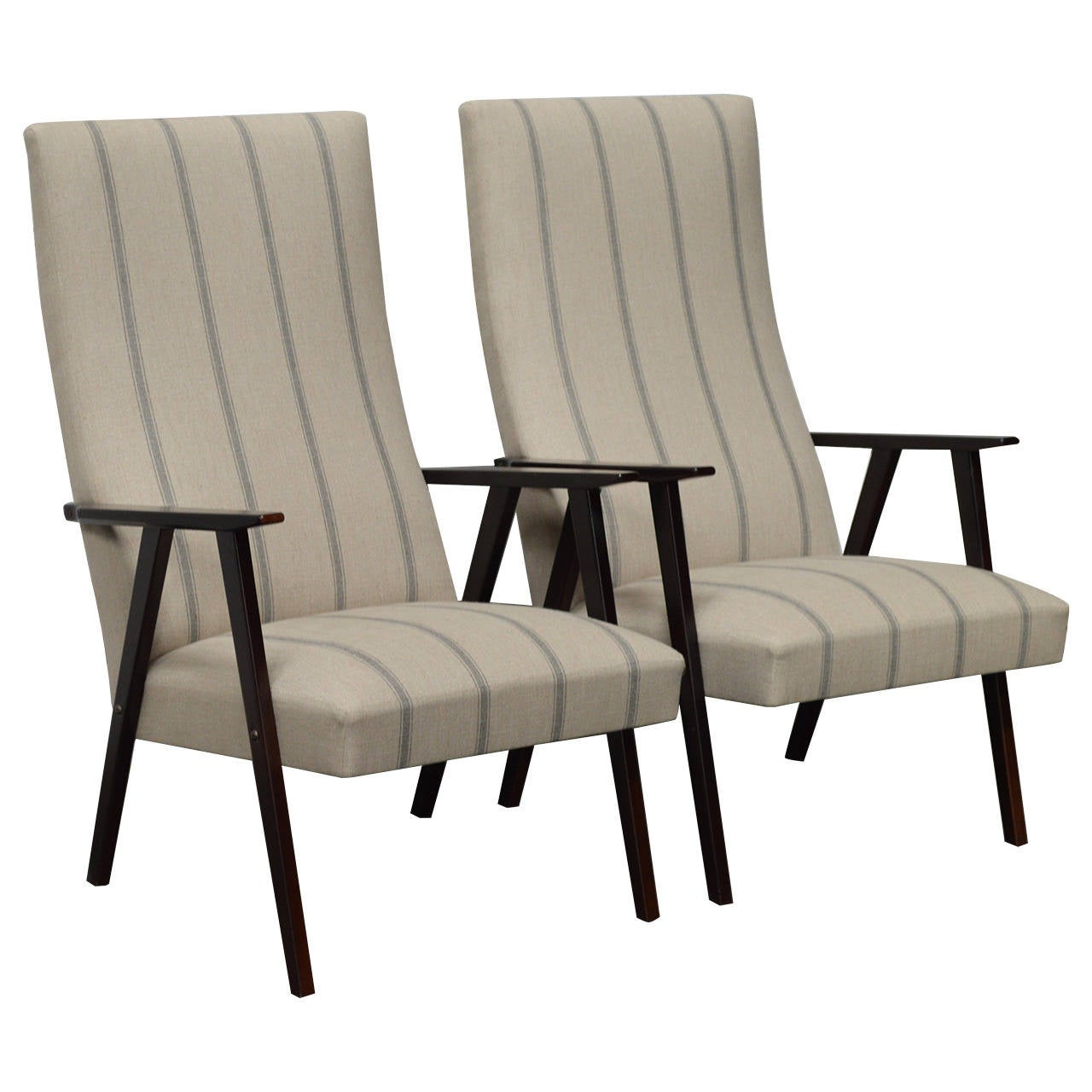 Swedish Mid Century Furniture Pair Of Swedish Mid Century Modern High Back Lounge Armchairs
