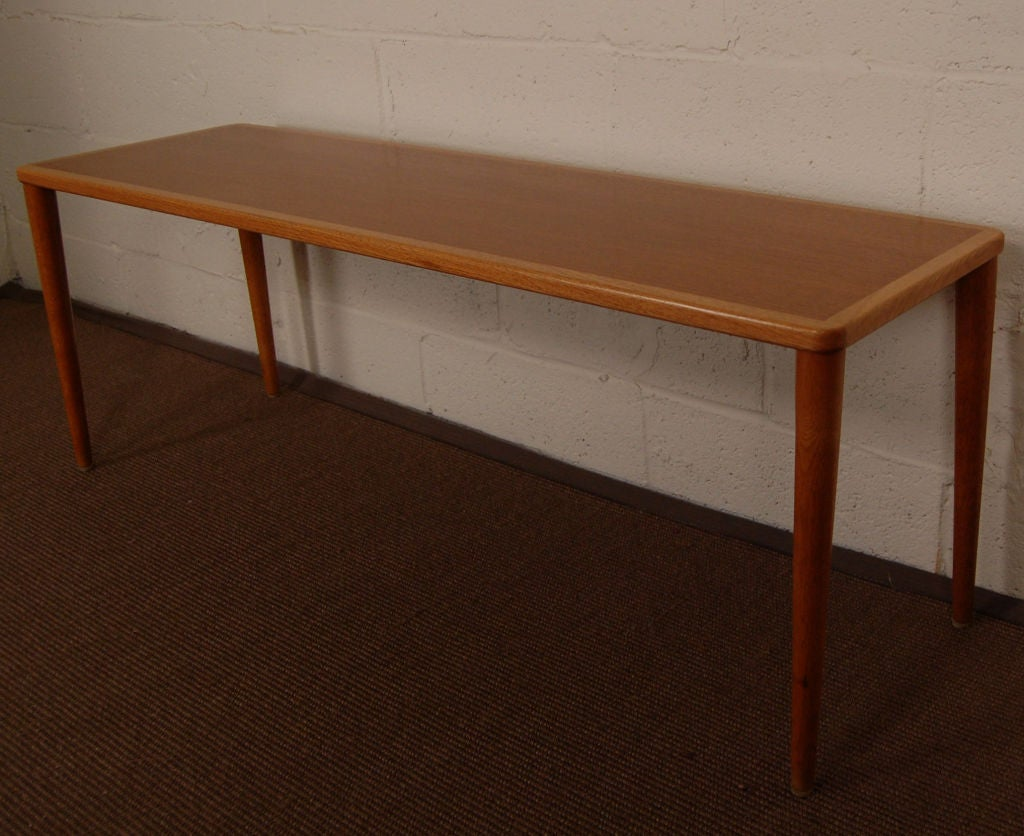 Long Slim Coffee Table Swedish Mid Century Modern Teak And Oak Narrow Coffee