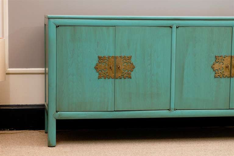 Teak Buffet Sideboard Rare Ray Sabota Buffet/chest/credenza In Turquoise At 1stdibs