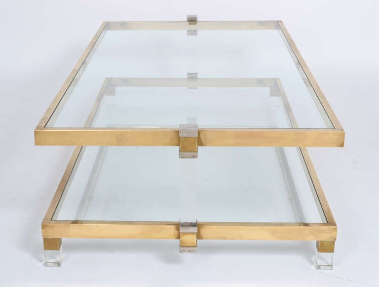 Superb brass lucite and glass coffee table by romeo rega