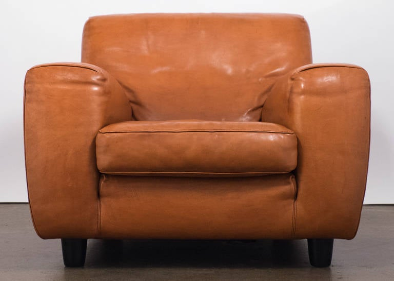 Vintage Molinari Leather Club Chair Circa 1980s At 1stdibs