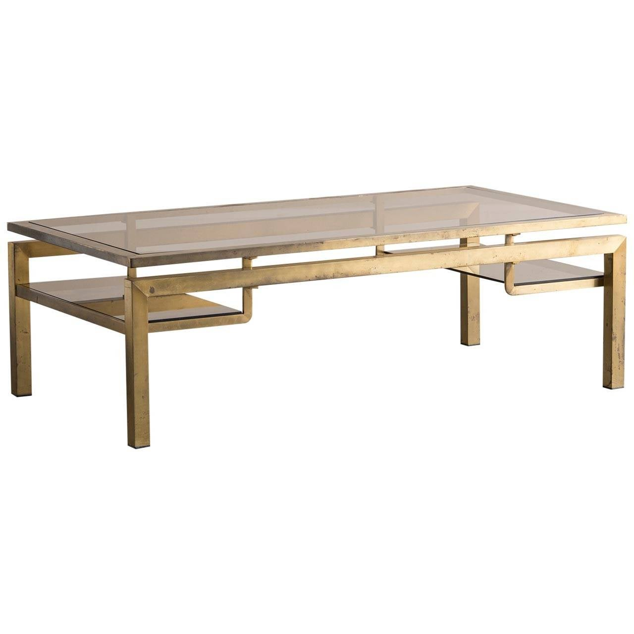 Messing Couchtisch Mit Glasplatte Vintage Brass Coffee Table With Smoked Glass Top France