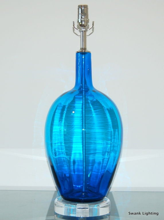Vintage Hand Blown Glass Lamp In Royal Blue At 1stdibs - Hand Blown Glass Lamp