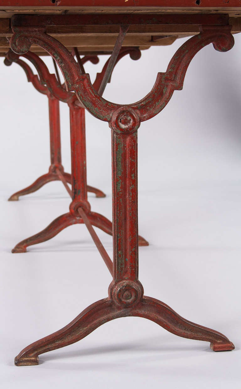 Reastaurant Tables French Red And Black Bistro Restaurant Table 1920s