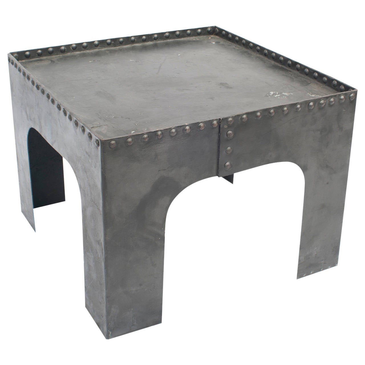 Small Industrial Side Table Small Square Industrial Metal Coffee Table For Sale At 1stdibs