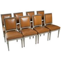 Set of Eight Louis XVI Square Back Chairs at 1stdibs