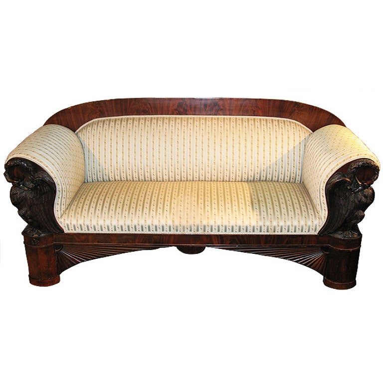 Sofa Certificate Germany Magnificent Swan-carved North German Biedermeier Sofa For