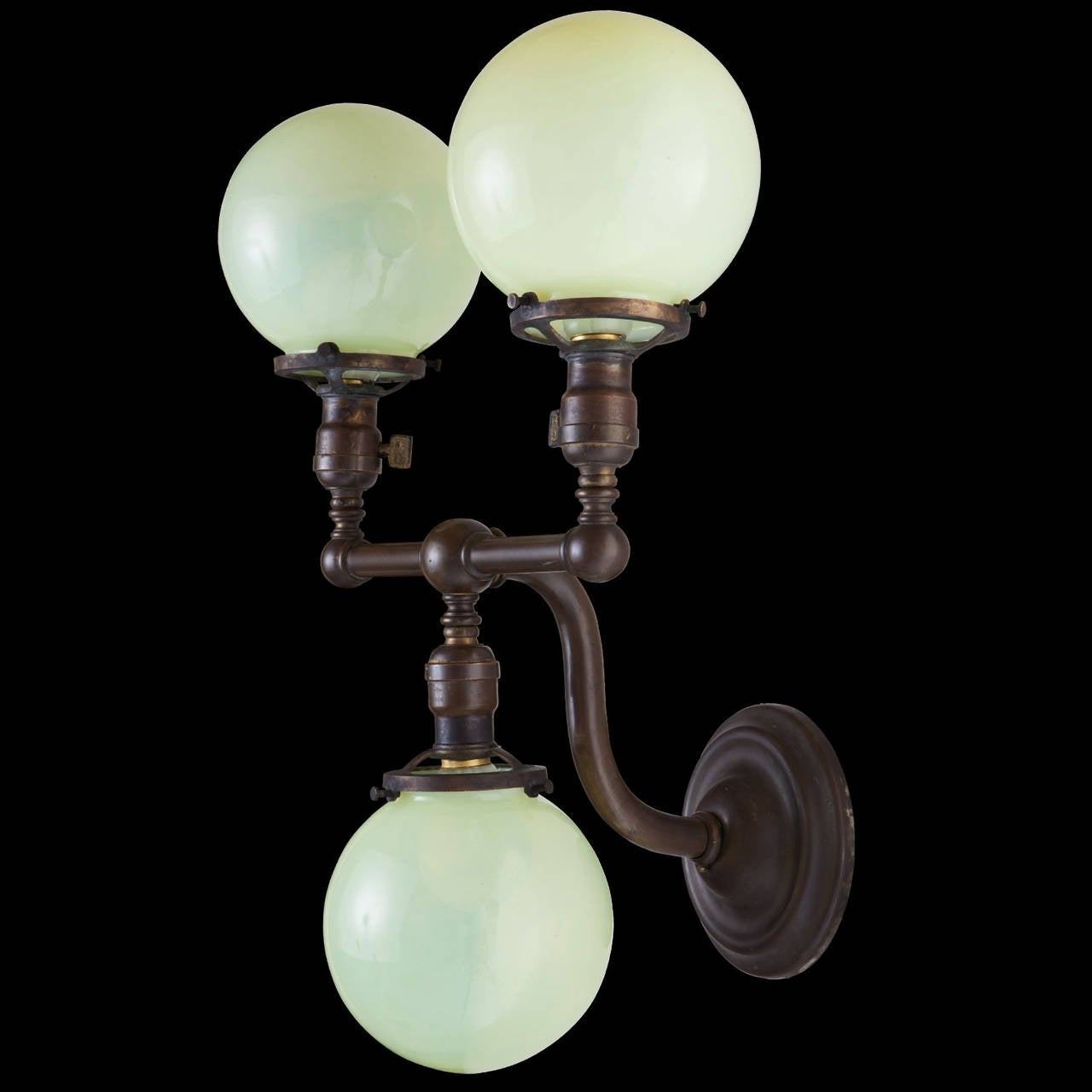Pair Of Brass And Vaseline Glass Three Globe Sconces For