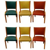 Set of Six Mid Century Upholstered Bentwood Chairs at 1stdibs