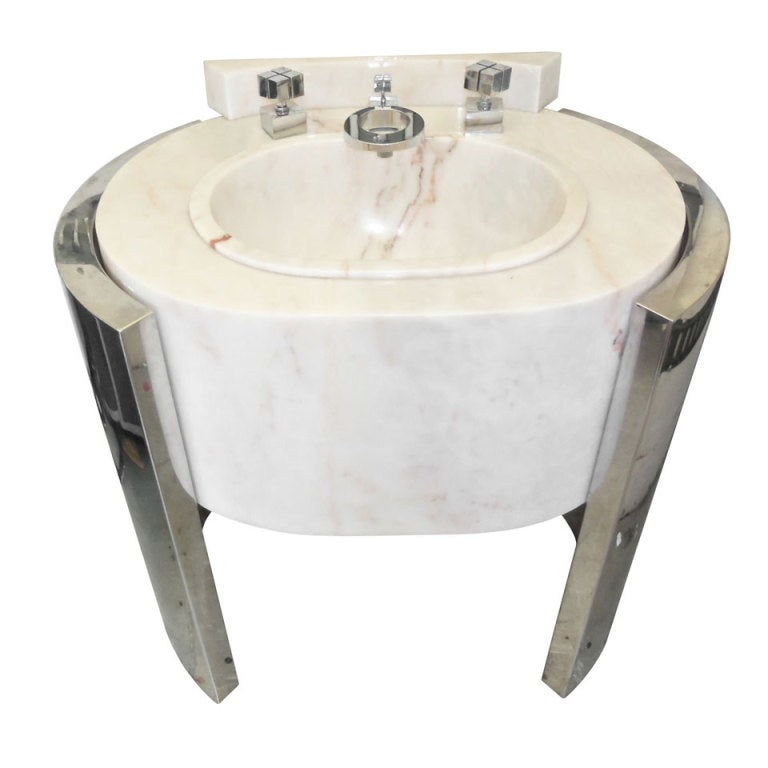 Sherle Wagner Pedestal Sink Chrome And Marble At 1stdibs
