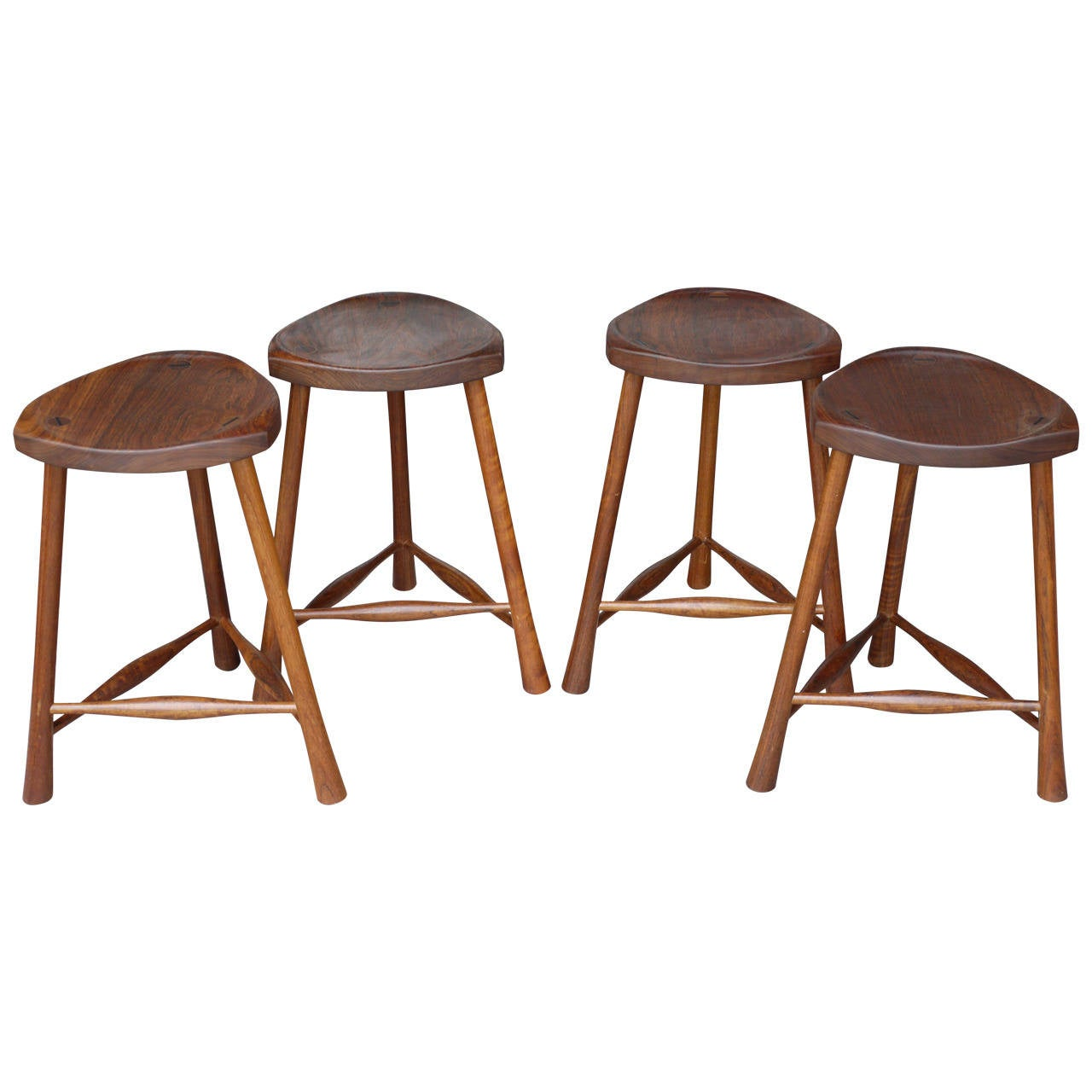 Modern Counter Height Stools Set Of Four Walnut Studio Modern Counter Height Stools At