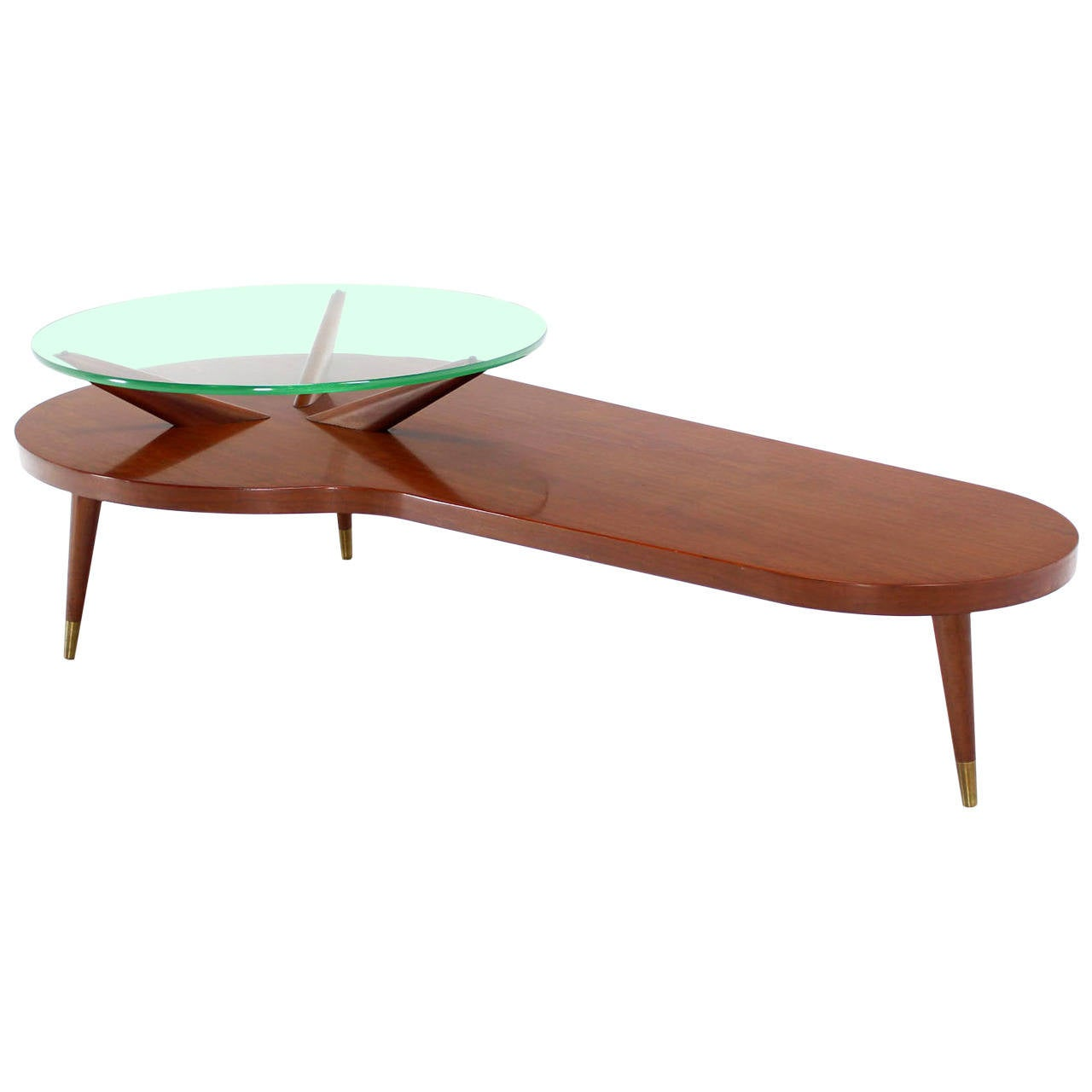 Round Glass Top Coffee Table Mid Century Modern Walnut Organic Kidney Shape Coffee Table Round Glass Top