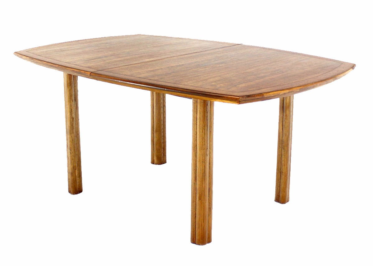 Baker Mid Century Modern Dining Table With Two Leaves Oval