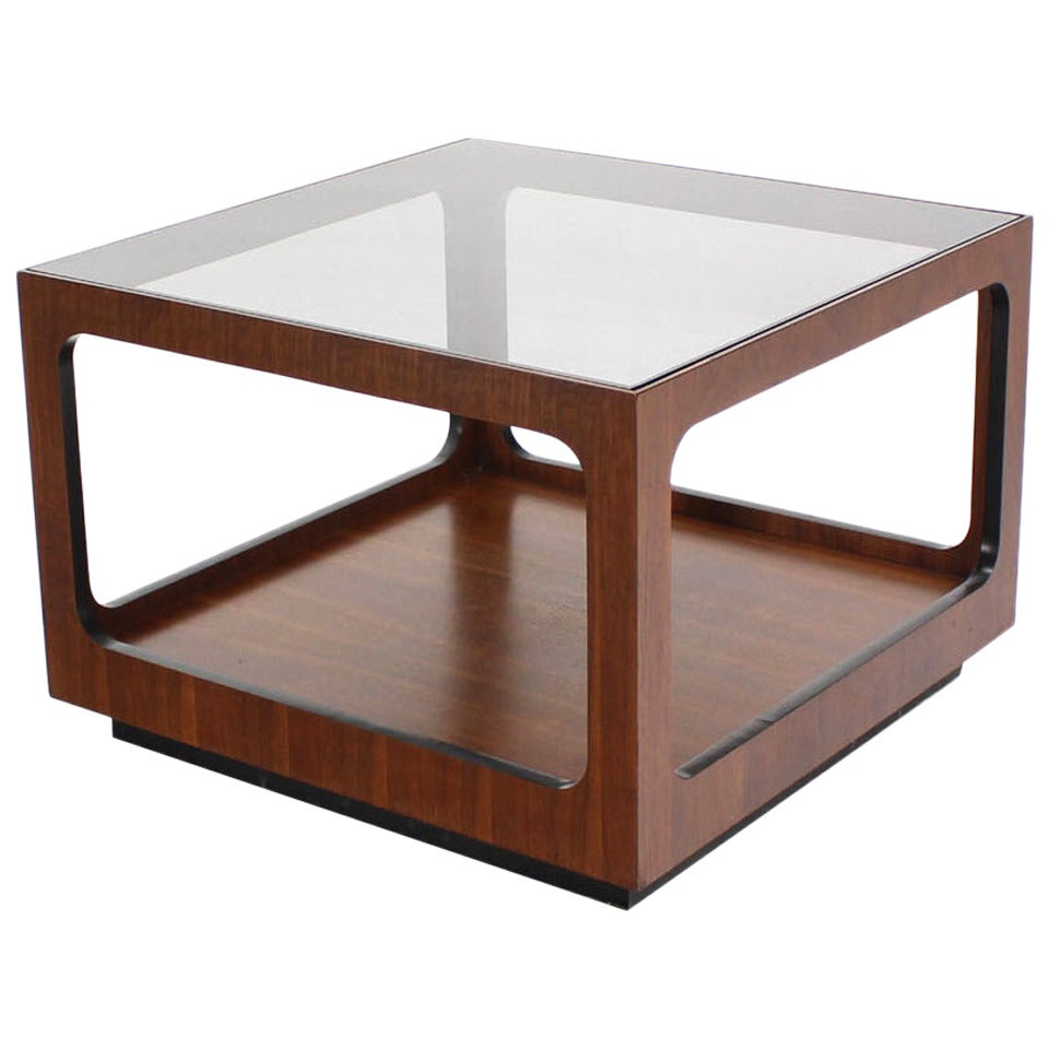 Coffee And Side Tables Square Walnut Base And Glass Top Coffee Or Side Table