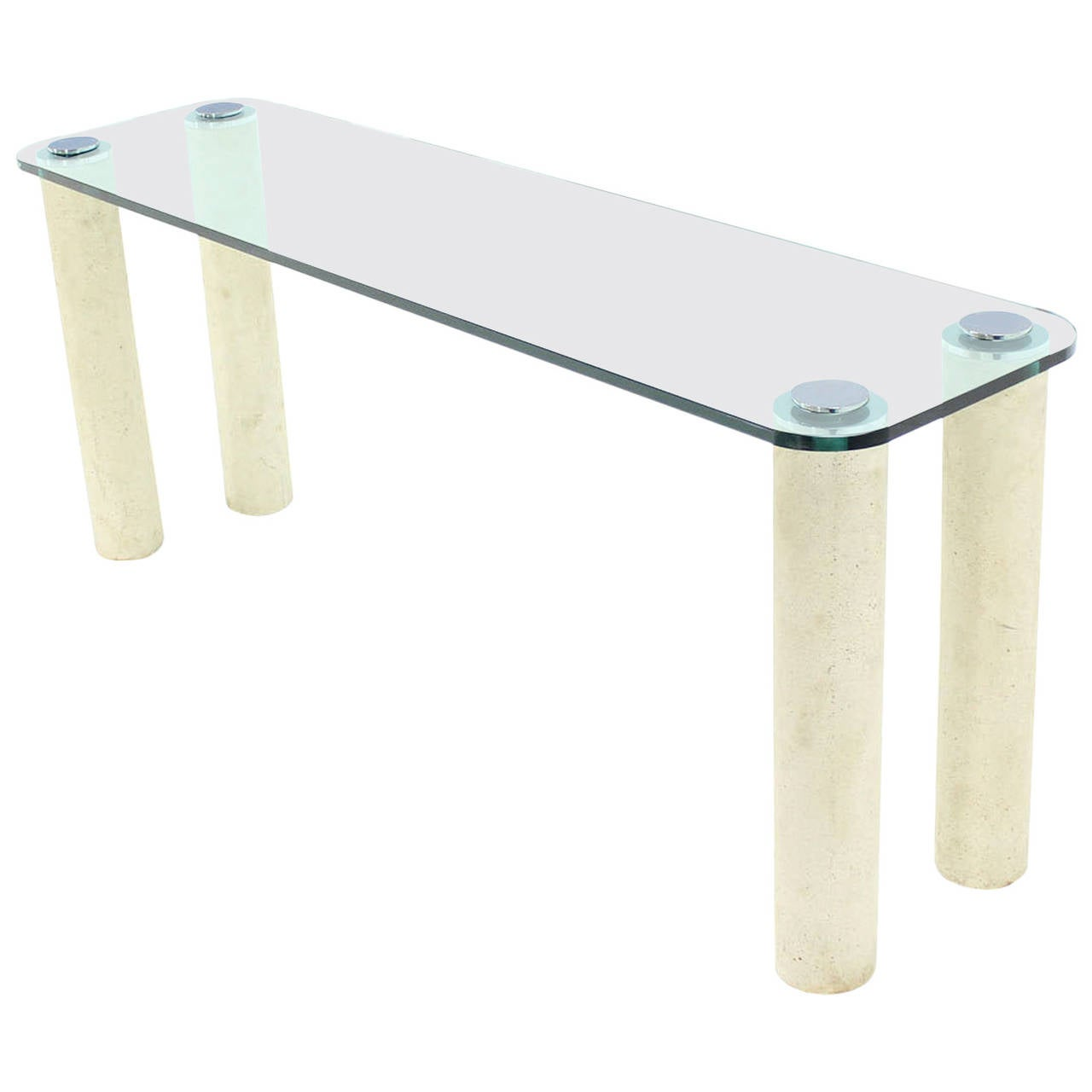 Glass Top Console Table Modern Thick Glass Top Console Table On Marble Cylinder Shape Legs