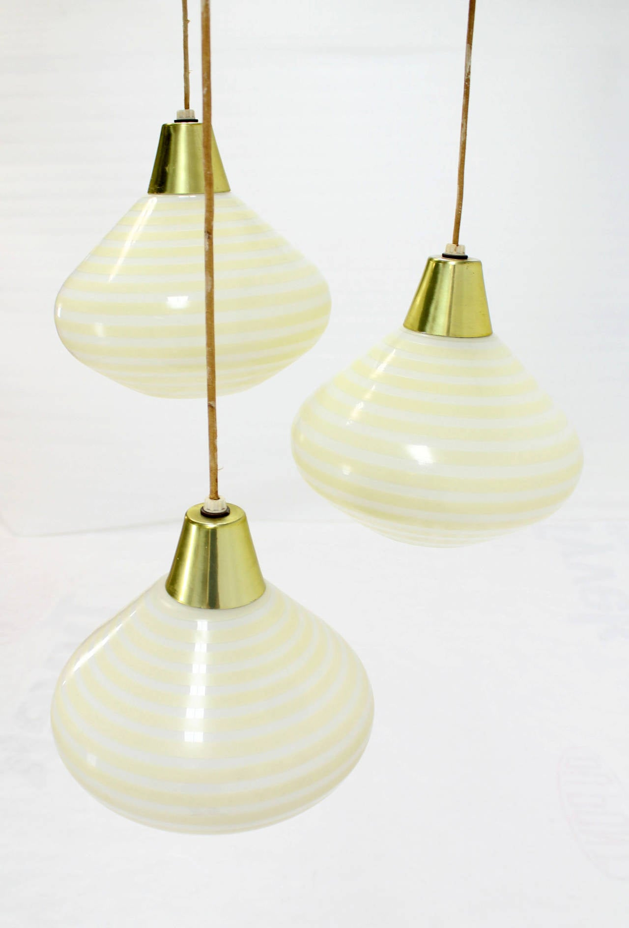 Cone Shaped Pendant Light 1960s Triple Art Glass Stripe Pattern Cone Shape Pendant