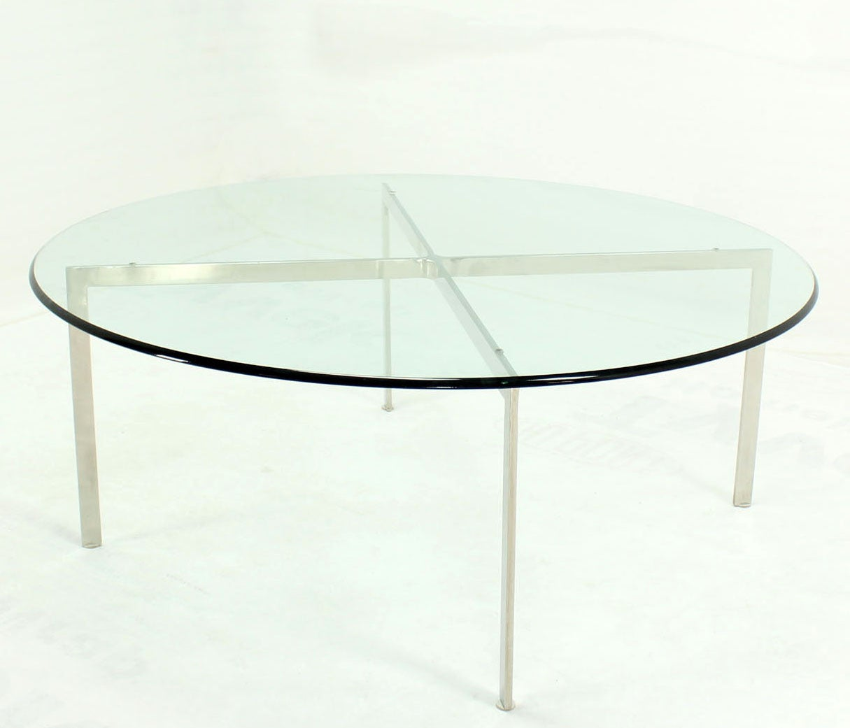 Round Glass Top Coffee Table Mid Century Modern Chrome X Base Thick Round Glass Top Coffee Table