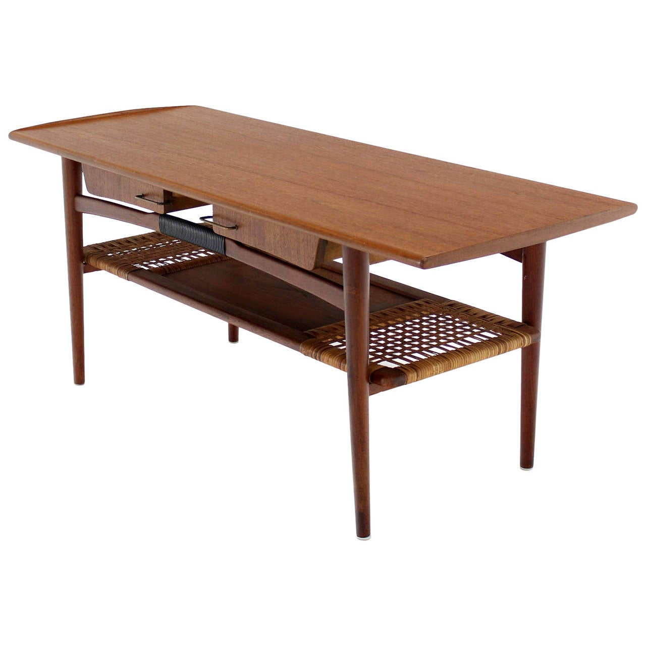 Modern Coffee Table With Storage Danish Modern Teak Coffee Table Cane Shelf Rolled Edges 4 Storage Drawers