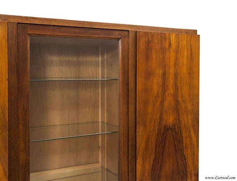Antique Walnut Art Deco European Armoire Display Bar