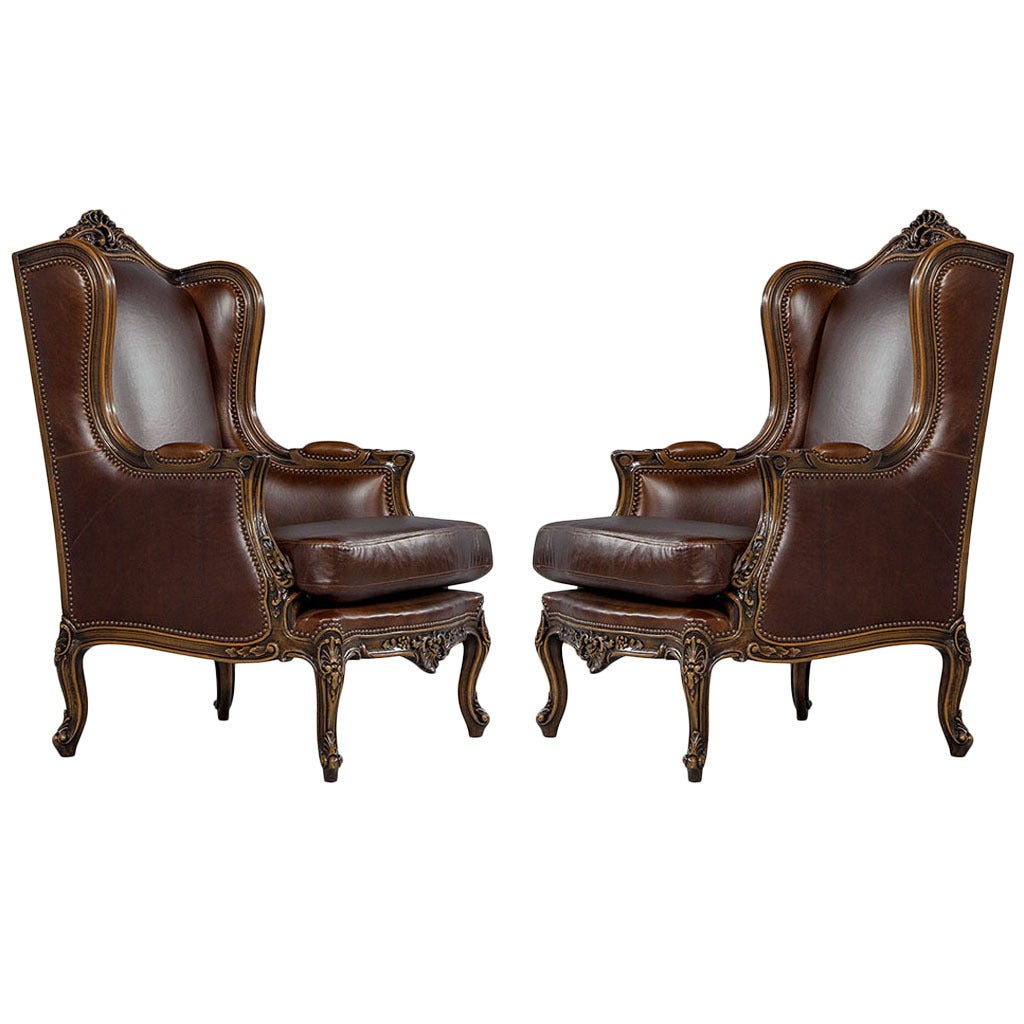 Chaise Drucker Prix Stunning Pair Of Mahogany Leather Louis Xv Wing Chairs