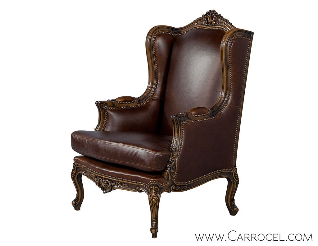 Pair Of Mahogany Leather Louis Xv Wing Chairs For Sale At