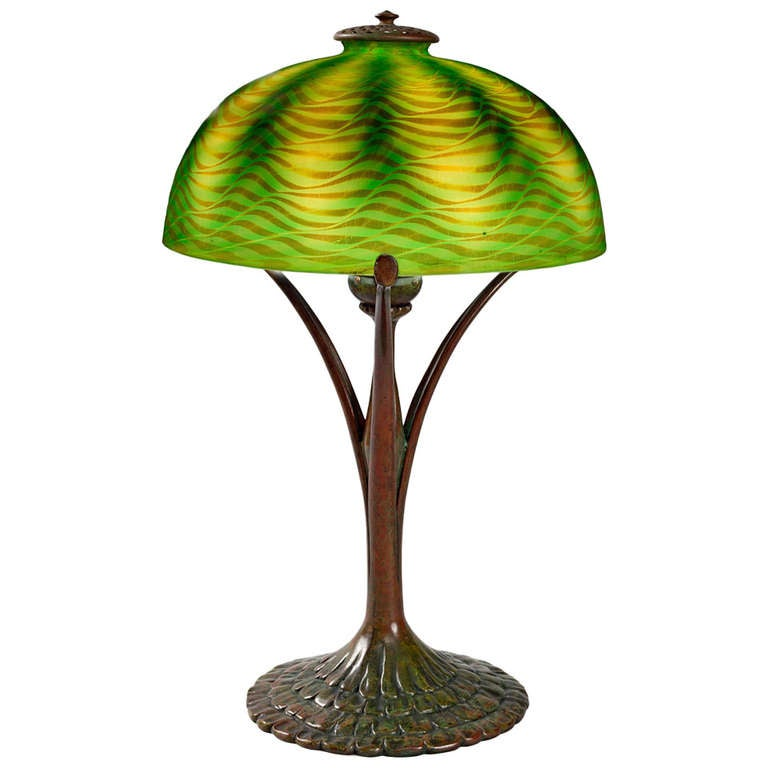 Tiffany studios new york patinated bronze and favrile