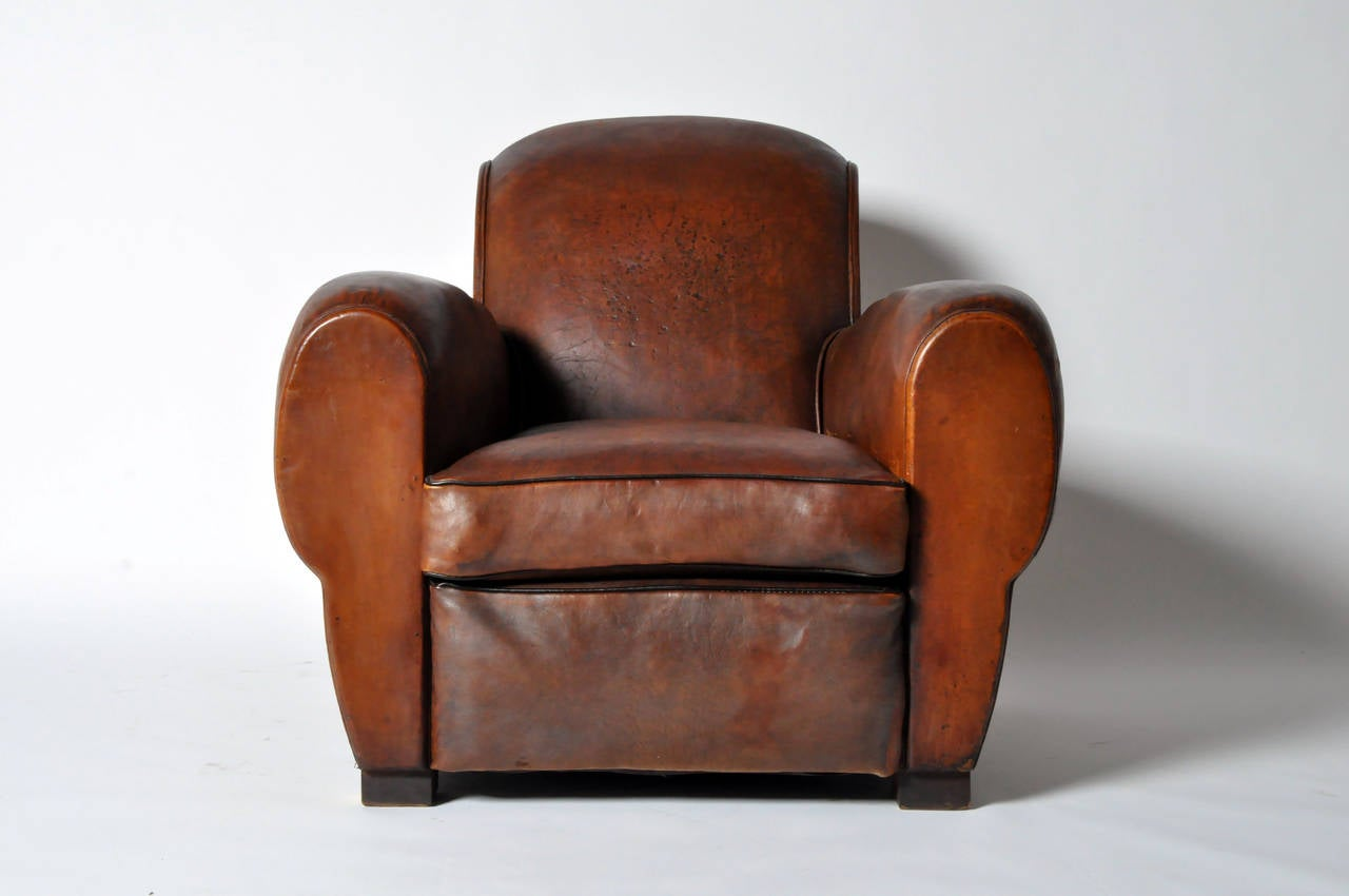 Vintage French Leather Club Chair At 1stdibs