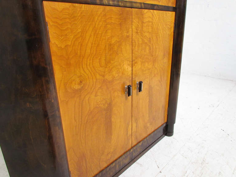 French Art Deco Burl Wood Lighted Bar Corner Cabinet At
