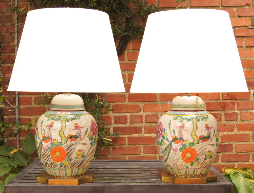 Bright Colored Table Lamps Pair Of 19th Century Chinese Covered Jar Lamps At 1stdibs