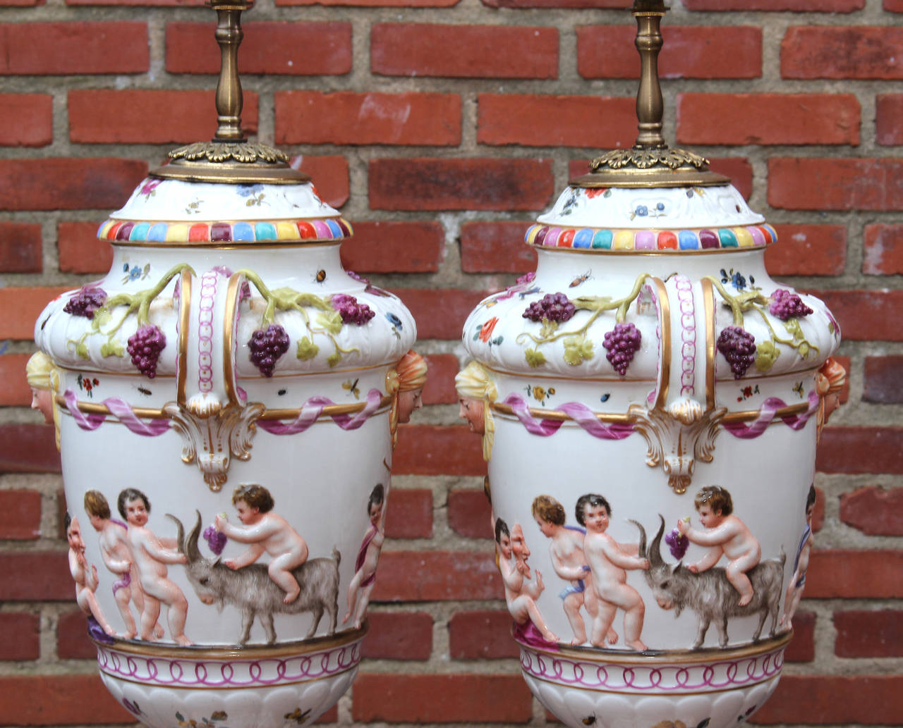Large Pair Of Italian Capo Di Monte Table Lamps For Sale