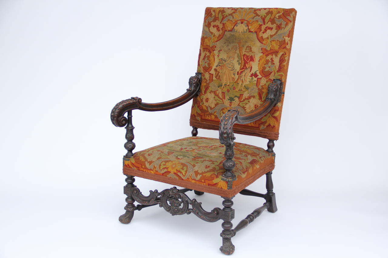 Louis The 14th Furniture Antique Louis Xiv Style Carved Fauteuil High Back Armchair