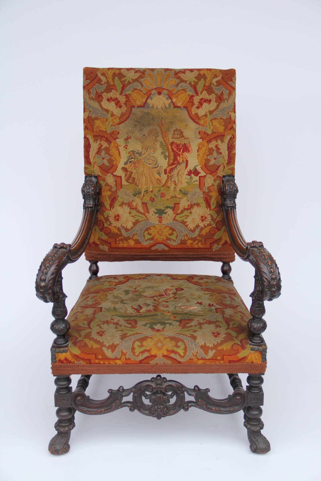 Fauteuils Louis Xiv Antique Louis Xiv Style Carved Fauteuil High Back Armchair With Needlepoint