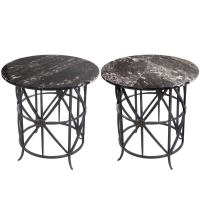 Pair of Midcentury Round Wrought Iron Marble Tables at 1stdibs