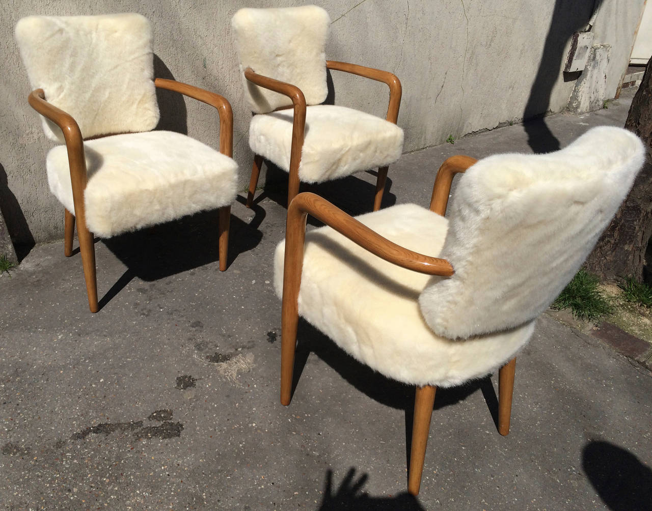 Cloth Covered Office Chairs Renou Et Genissetrare Set Of Three Desk Chairs Newly