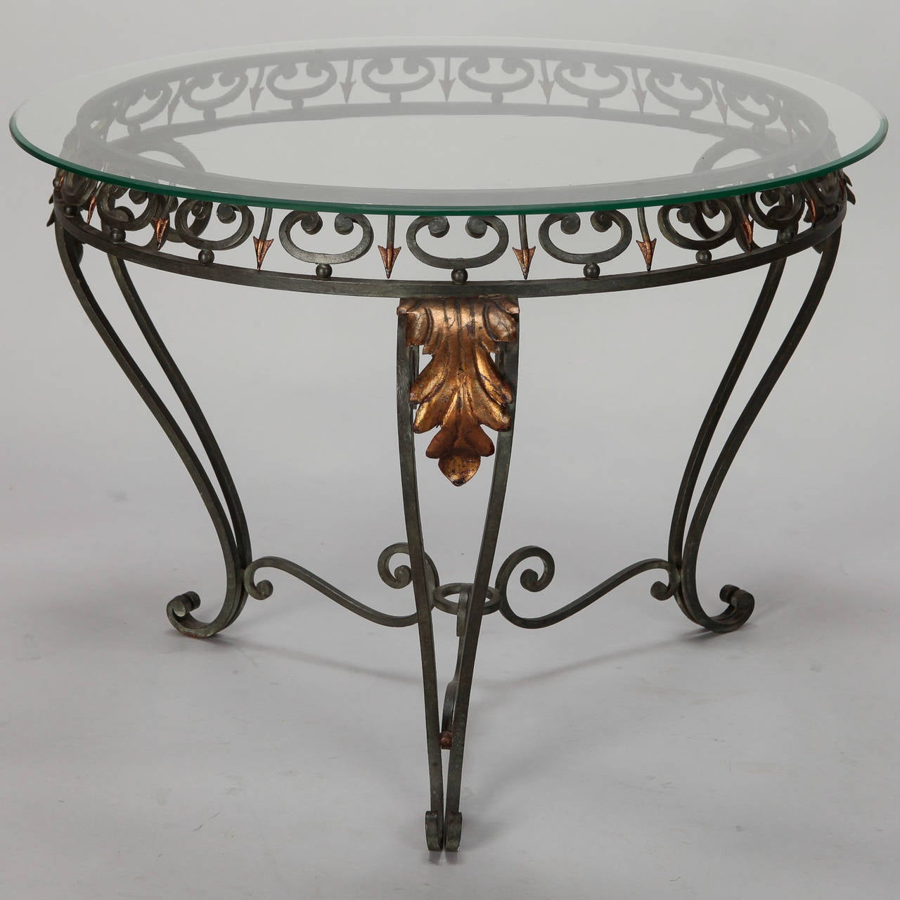 Glastisch Metallgestell Italian Glass Top Table With Green Iron Frame And Gilt
