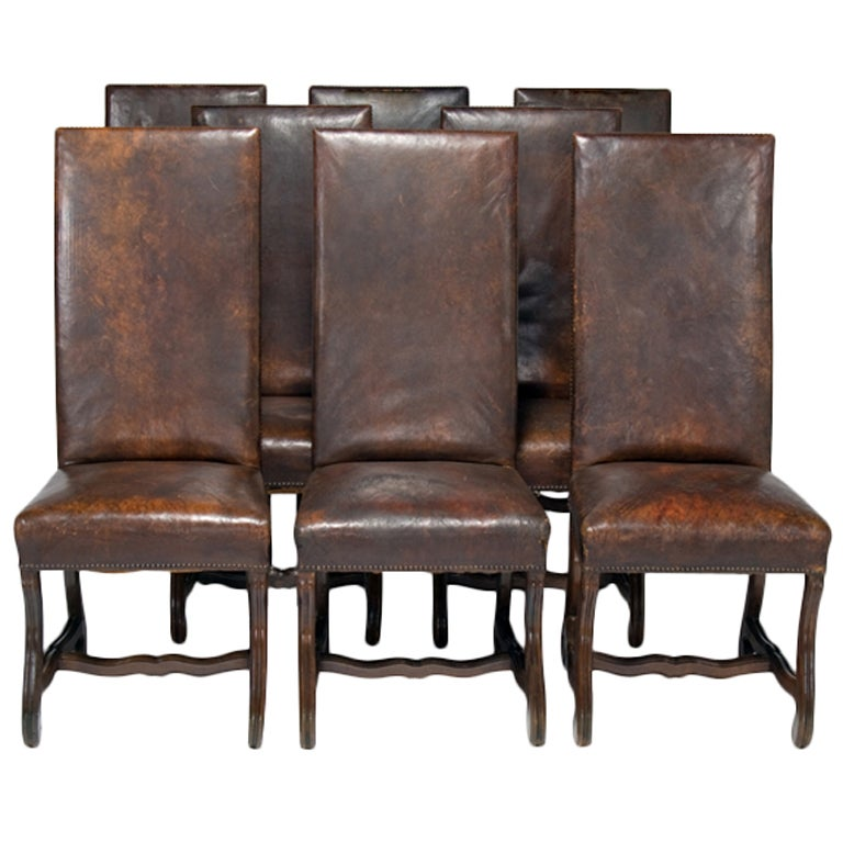 Set of six andalusian leather dining chairs at 1stdibs