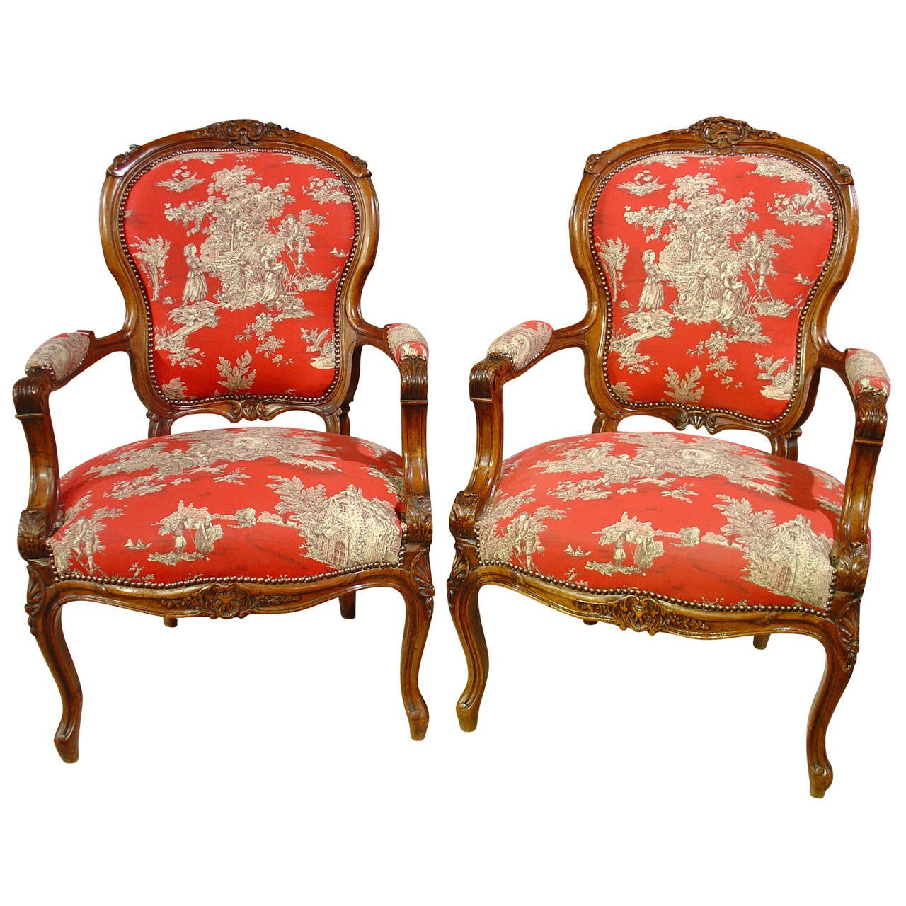 Fauteuils Style Louis Xv Pair Of Louis Xv Style Walnut Fauteuils With Toile De Jouy Upholstery