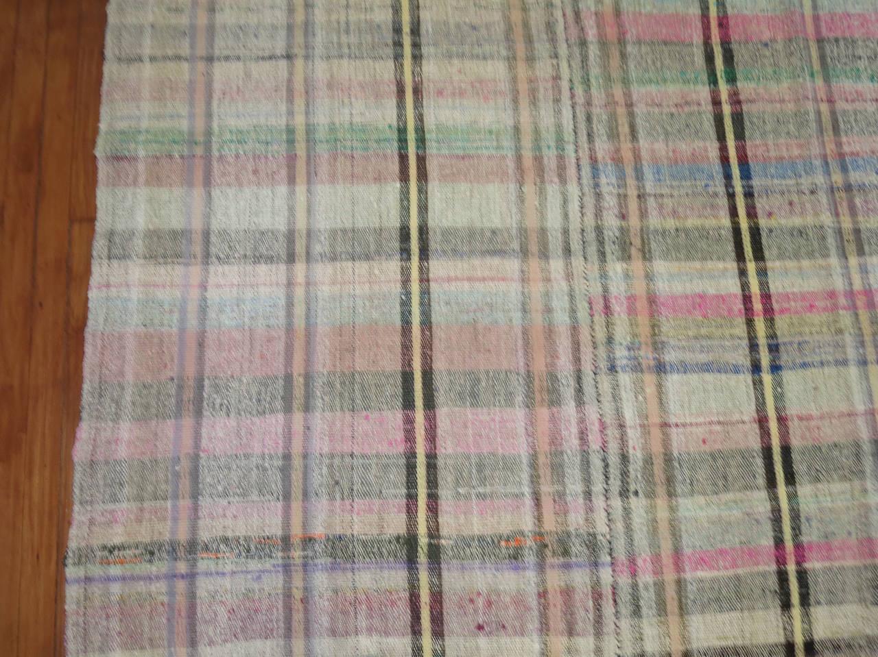 Vintage Turkish Plaid Style Kilim For Sale At 1stdibs