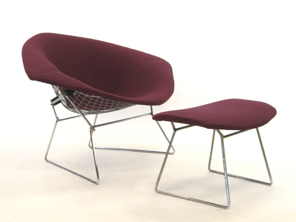 Wide Chair And Ottoman Bertoia Wide Diamond Chair And Ottoman By Knoll At 1stdibs