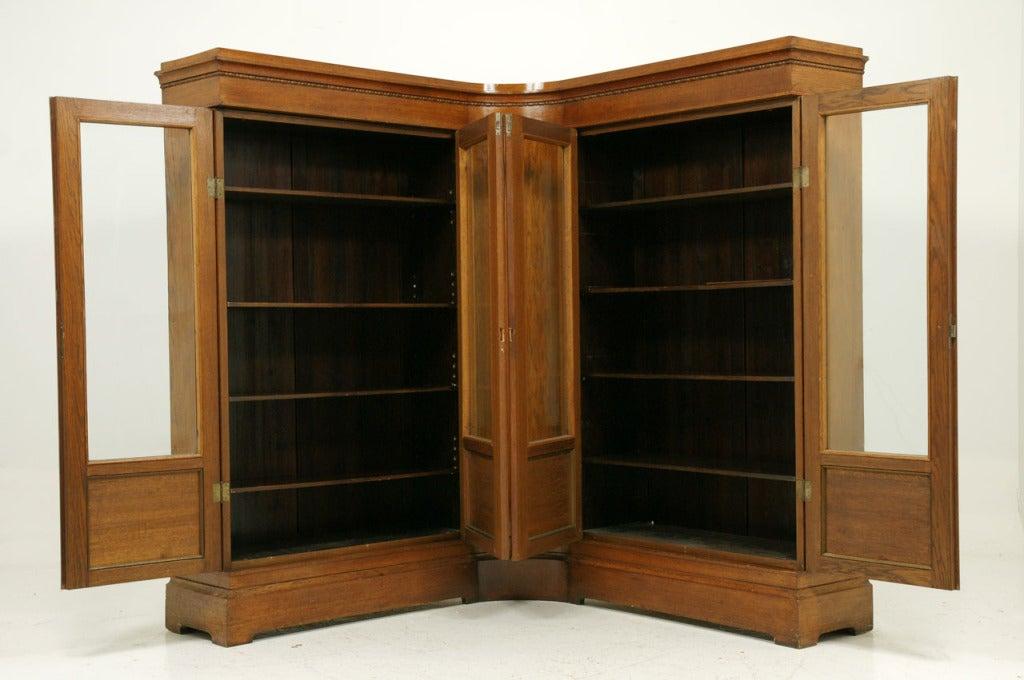 Unusual Antique Oak Corner Bookcase At 1stdibs