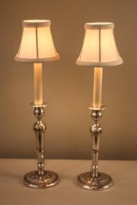 Pair of Silver Candlestick Lamps at 1stdibs