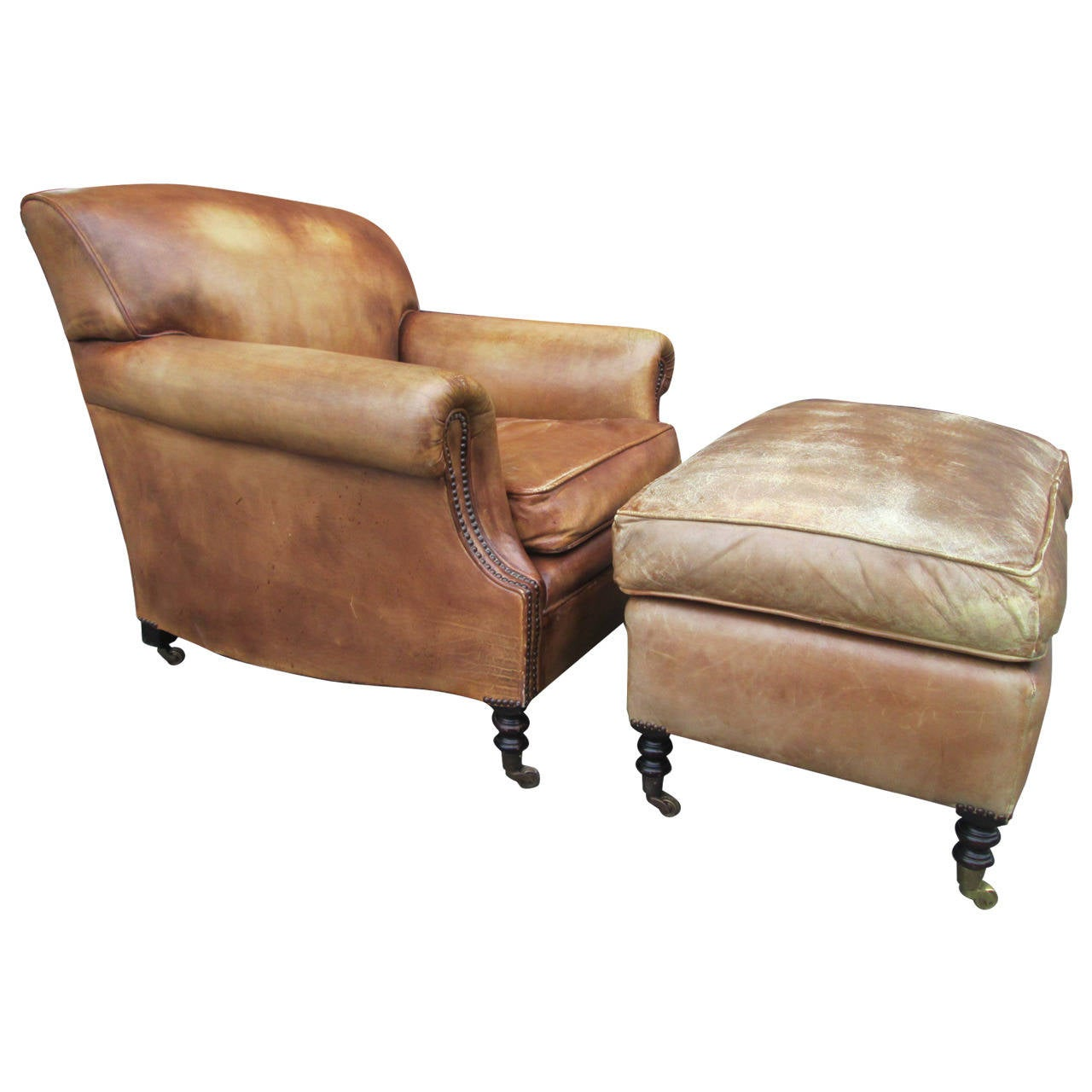 Leather Chairs And Ottomans Sale Leather Lounge Chair And Ottoman By George Smith