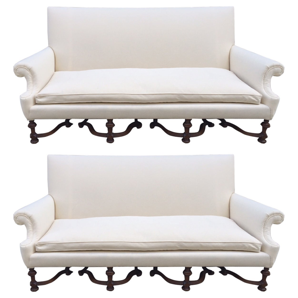 High Back Antique Sofa Pair Of English High Back Antique Walnut Sofas In Linen