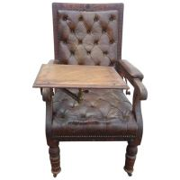 Distressed Irish Mechanical Leather and Carved Wood ...