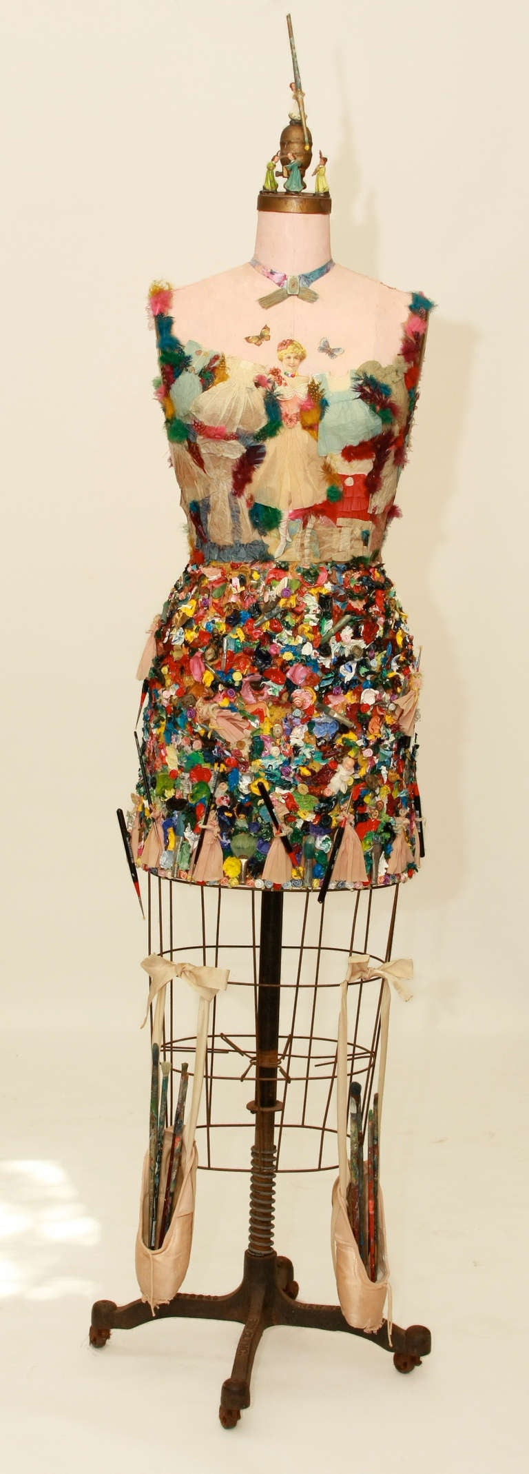 Mixed media vintage dress form sculpture 2