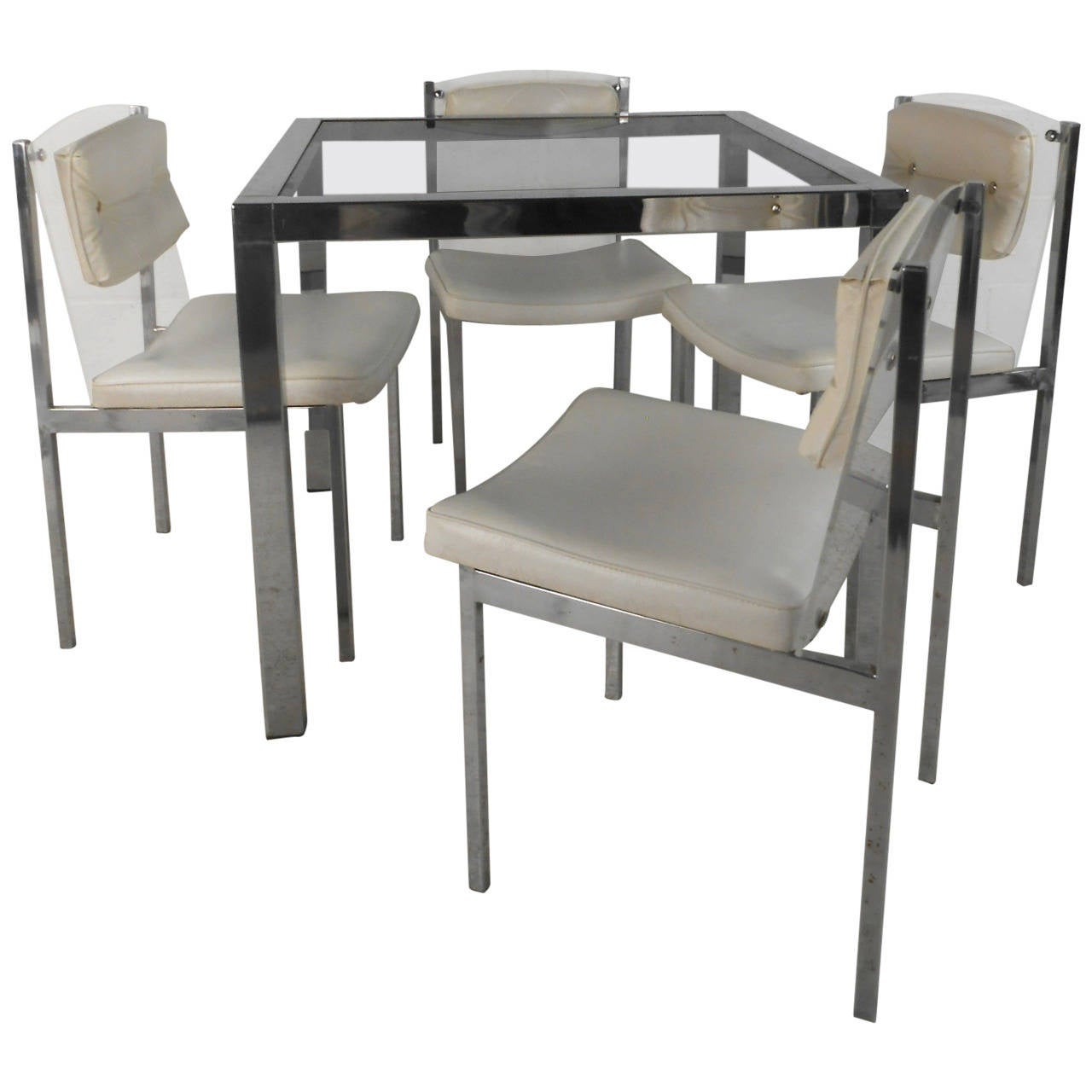 Modern Table And Chairs Mid Century Modern Chrome Glass And Lucite Dining Set Table With Chairs