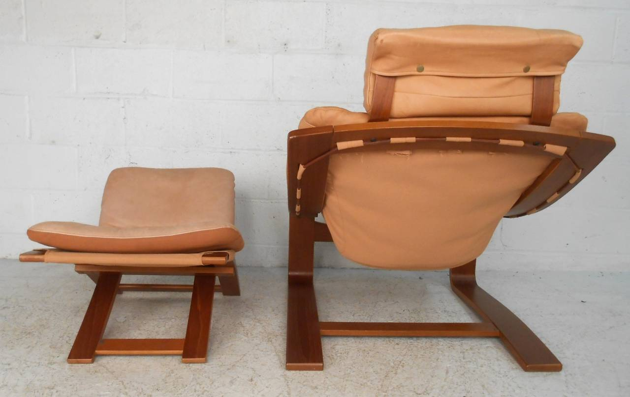Leather Chairs And Ottomans Sale Mid Century Modern Nelo Mobler Leather Chair Ottoman