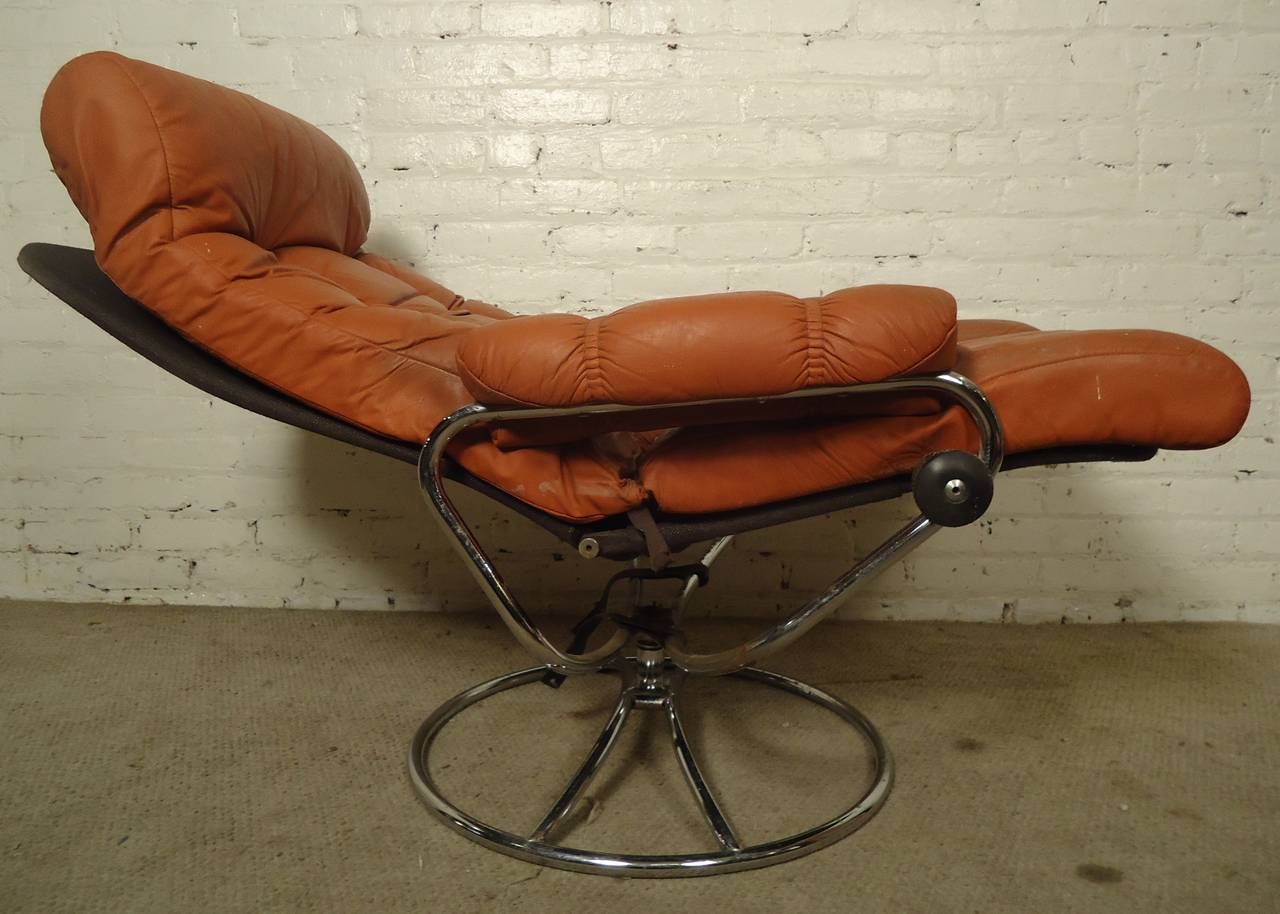 Stresless Mid Century Reclining Chair And Ottoman By Ekornes Stressless