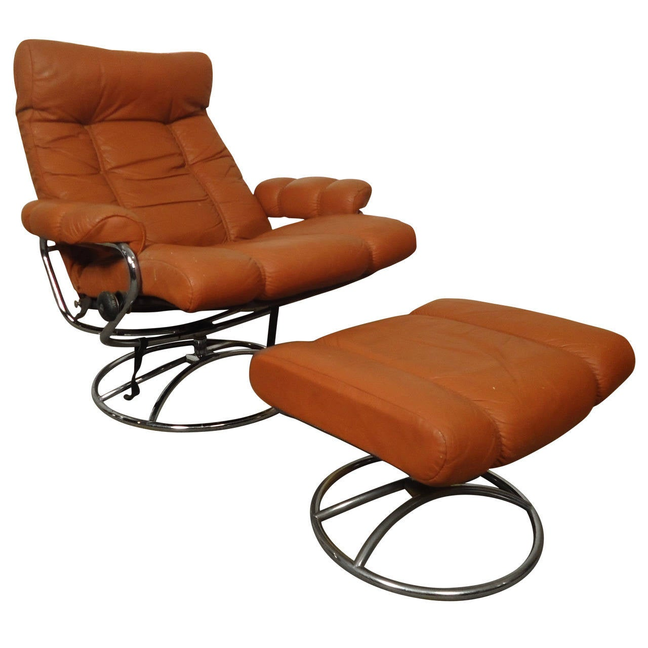 Ekornes Stressless Mid Century Reclining Chair And Ottoman By Ekornes Stressless